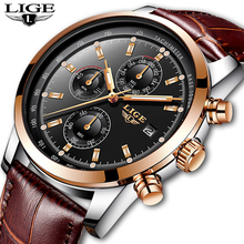 цены LIGE Mens Wristwatch Casual Fashion Watch Waterproof Quartz Watch Leather Watch Men Top Brand Luxury Business Clock Montre Homme