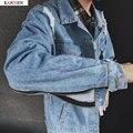 Горячие Продажи Уличная Хип-Хоп Ripped Отверстия Молнии Джинсовые Куртки Мужчины Женщины Женский Мода Человек Джинсовая Куртка Черный и Синий