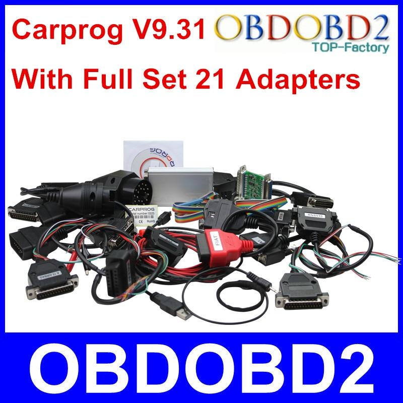 Prix pour Meilleur Qualité ECU Chip Tuning Outils CARPROG V9.31 Ensembles Complets voiture Prog Plein De Réparation Programmeur Interface Tous Les 21 Adaptateur DHL livraison