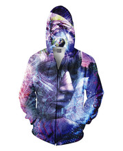 เสื้อที่มีสีสันตัวละครใบหน้าแฟนตาซี3D G Raphicพิมพ์Hoodiesแฟชั่นกระเป๋าวอร์มท็อปส์ซูฮิปฮอปผู้หญิง/ผู้ชายแจ๊กเก็ต