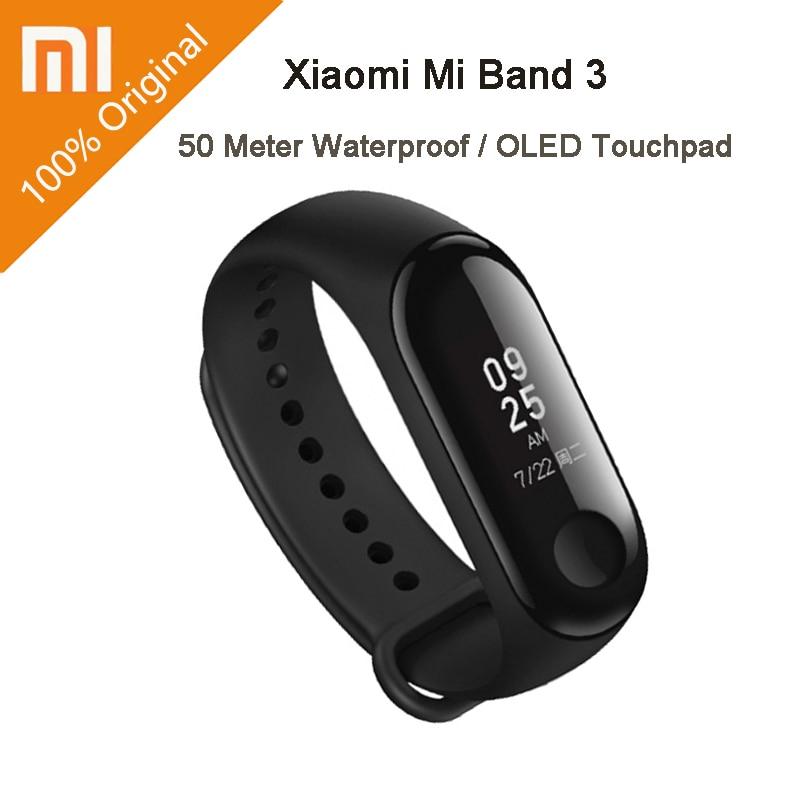 Bracelet Smart Xiaomi Mi Band 3 Miband 3 OLED écran tactile 0.78 pouce afficheur de message prévision météo tracker pour le fitness Xiaomi Band 3
