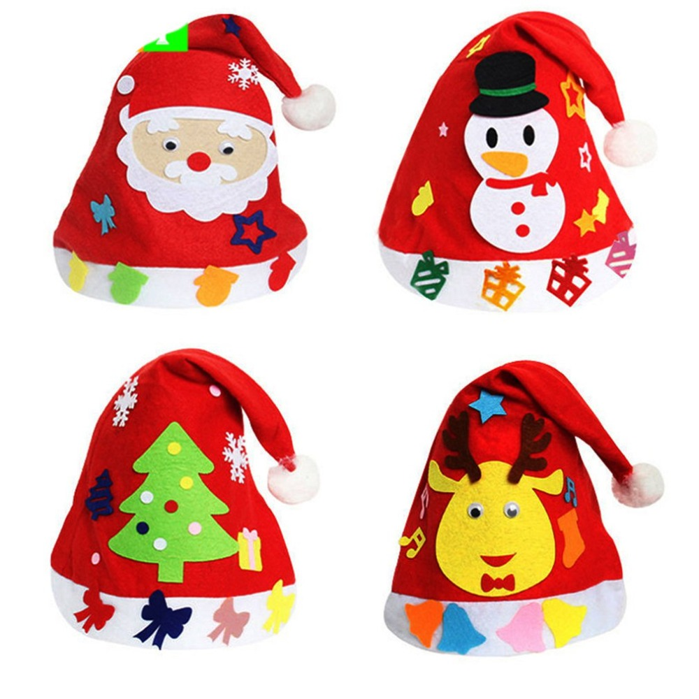 1PCS  Children DIY Creative Nonwoven fabric Hats Christmas Gift Creative Decoration Supplies Kids DIY Handmade Crafts Art Toys