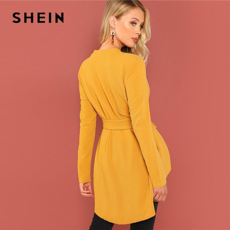 e0fa413f77824 SHEIN Renkli Tatil Casual Çizgili Karışık V-Cut Boyun Fırfır Kollu Fırfır  Elbise Sonbahar Modern