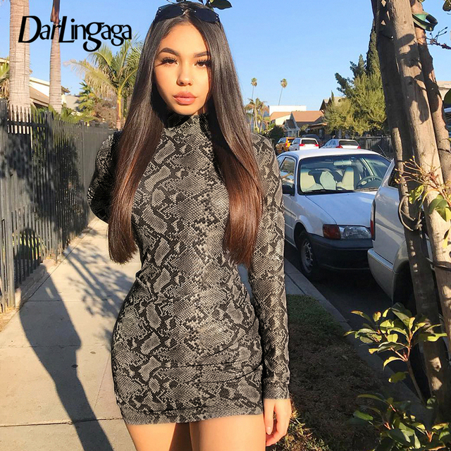Darlingaga Fashion snake print autumn winter dress long sleeve high neck party  dress bodycon snakeskin sexy dresses 2018 vestido c8d7b7a4527e