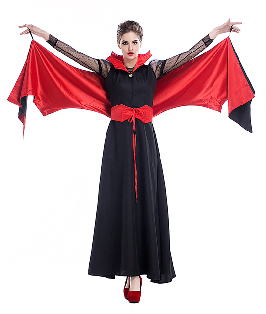 adult women red black vampire halloween costume dress bat wing evil demon ladies cosplay fancy outfit