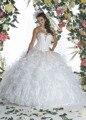 2016 Branco Quinceanera Vestidos Plus Size Querida Ruffle Organza Corset Ball Vestido Meninas Vestido de Baile Doce 15 16 Vestidos de noiva Com Jaqueta
