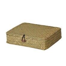 Wcic 手作り化粧品と蓋ジュエリー収納ボックス織海草ケース籐籐収納ボックス収納容器