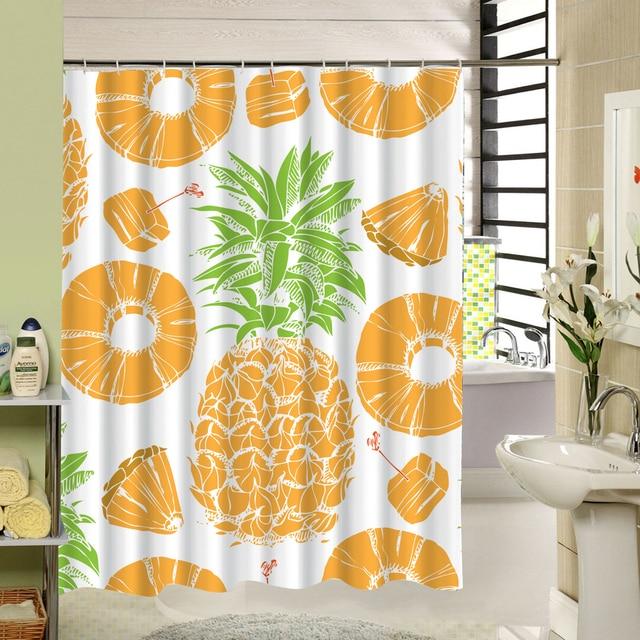 Pineapple Summer Element Shower Curtain Fruit Pattern Fabric Bathroom For Kids Bath Liner Decor Accessary