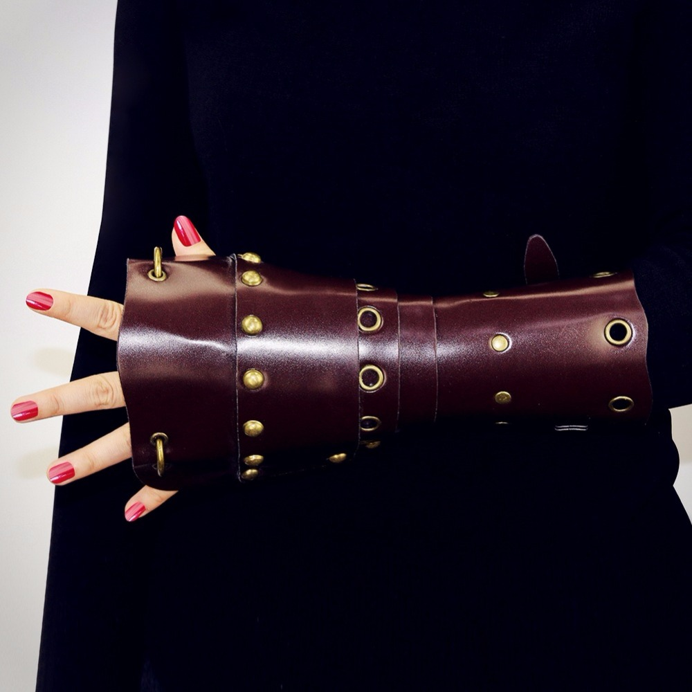 Cosplay Props Faux Leather Wide Bracer Lace Up Warrior Brown Arm Armor Cuff String Steampunk Medieval Gauntlet Wristband
