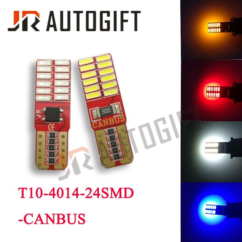 Автомобильные светодиодные лампы Canbus 4xT10 4014 24 SMD, без ошибок, 12 в, белые/красные/синие/желтые, 3014 194, автомобильные лампы, сигнальные лампы, кли...