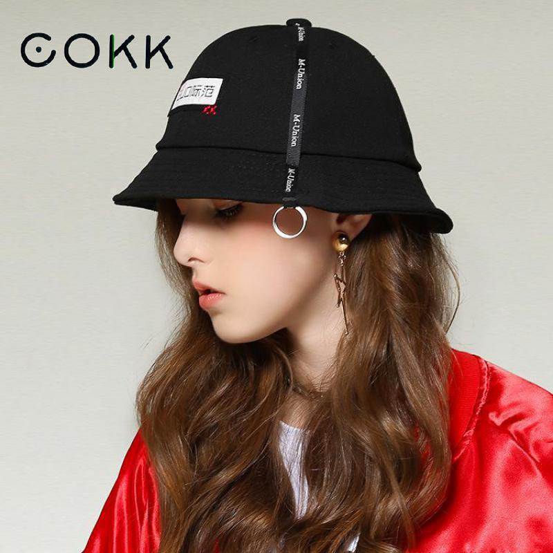 fd5e3636fae721 COKK Women Bucket Hat Hip Hop Fishing Hat Folding Fishermen Cap Summer Hats  For Women Men Panama Bob Hat Cotton Black Chapeu