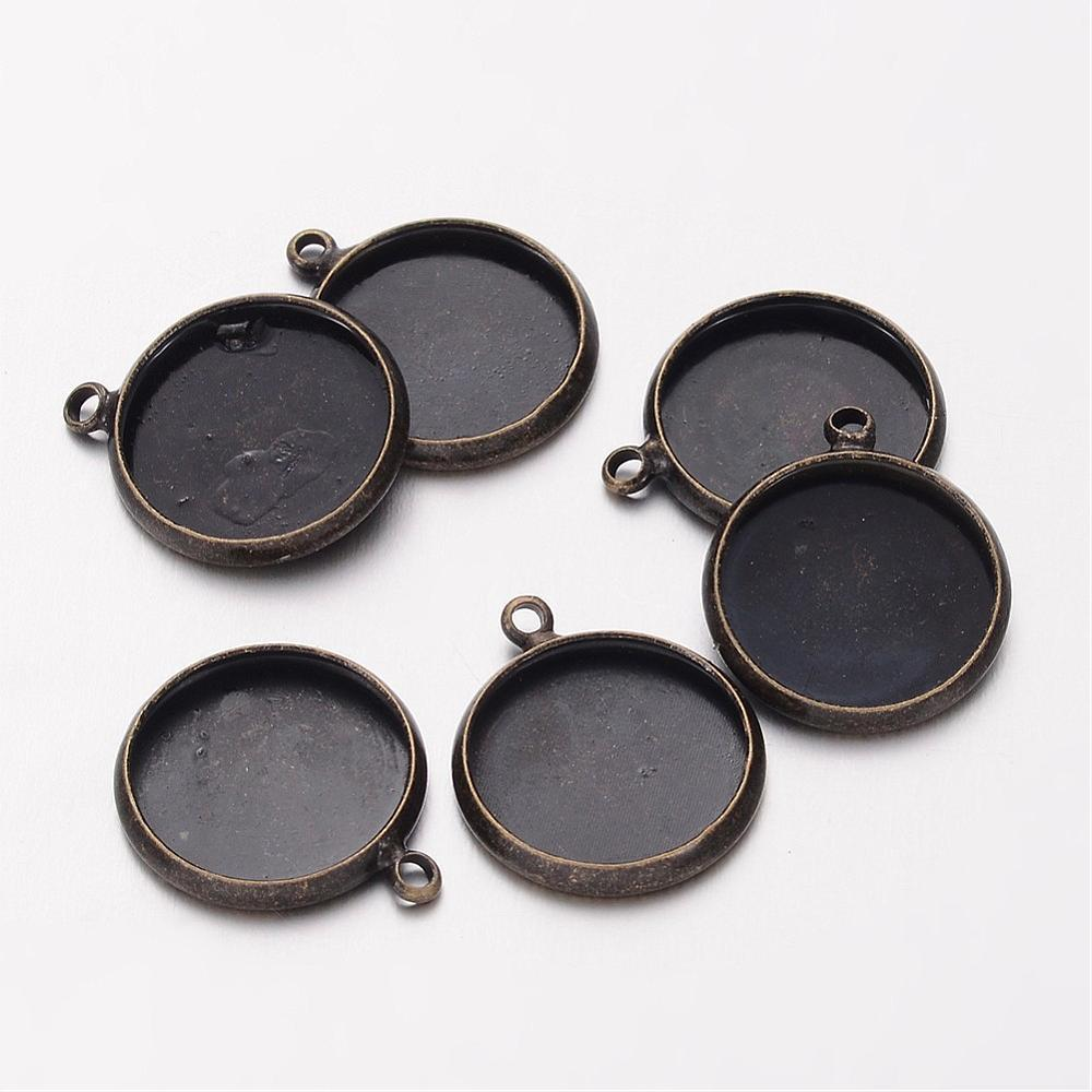 Brass Blank Pendant Trays Flat Round Setting for Cabochon Lead Free Cadmium Free Antique Bronze Tray