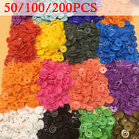 100/150/200 Sets Kam T5 Round Plastic Snaps For Clothing Accessories Baby Snap Buttons Diy Press Stud Fasteners Poppers