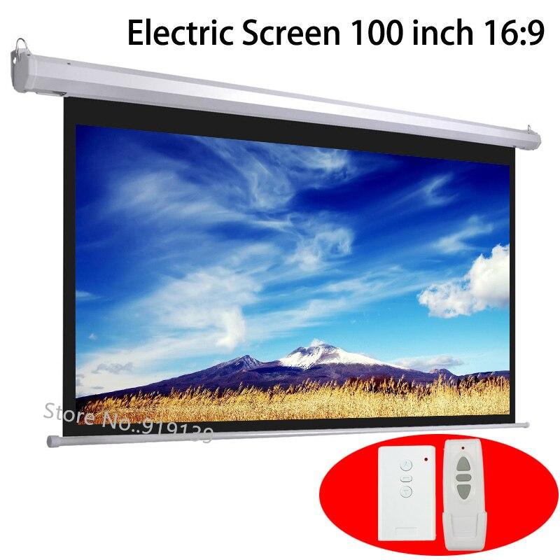 HD 100 дюймов 16:9 электрический экран для 3D LED DLP проектор моторизованные проекционные экраны DHL FedEx Быстрая доставка