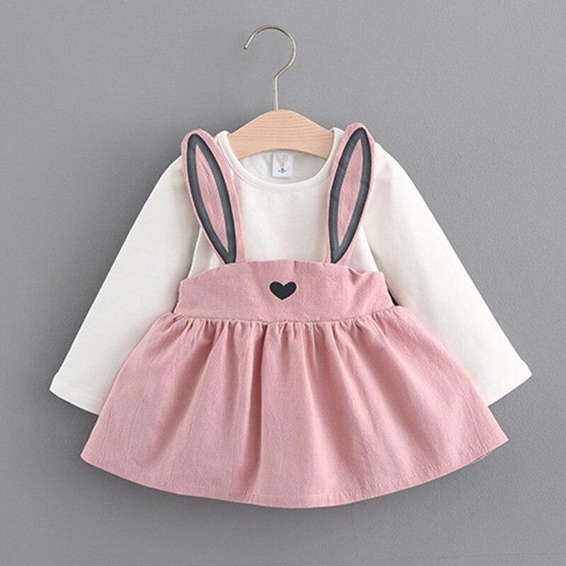 2017 Winter Autumn Baby Girl Dresses Girls Long Sleeve Dress Cute Rabbit Print Princess Vestidos Hot Sale j2
