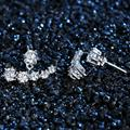 S925 Sterling Silver Stud Earrings luxury Rhinestone Crescent Buckle Dual-Use CZ Cubic Formed Brilliant For Women Jewelry
