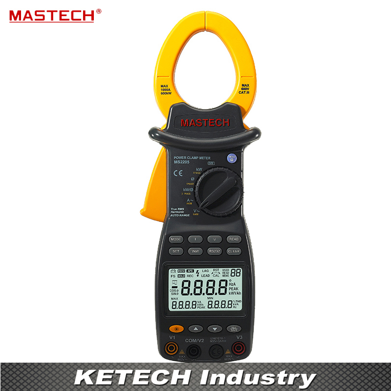 MASTECH MS2205 Digital Power Clamp Meter 3 Phase Harmonic Tester RS232 Interface mastech ms2208 harmonic power factor clamp meter tester multimeter dmm mastech