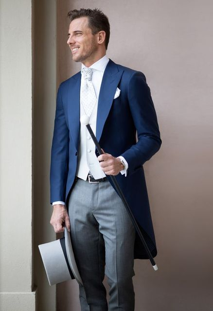 2017 Latest Coat Pant Design Navy Blue Wedding Suits For Men Groom Tailcoat Slim Fit 3