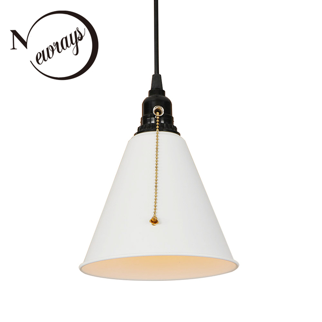 Modern Iron Black Painted Pull Chain Switch Hanging Lamp E27 Led 220v Pendant Light Fixture Kitchen Parlor Dining Room Hotel