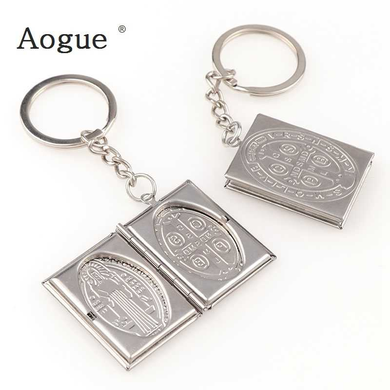 New Photo Frame Square Circular Necklaces Stainless Steel miracle St. Benedict Medal Charms Locket Key Chain Fashion Jewelry