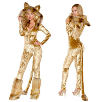 New High Quality Halloween Animal Fur Costume Stage Party Golden Fur Animal Costume Onesies Cute Cubs Cosplay Tail Costumes