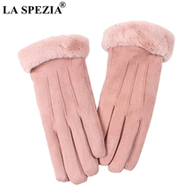 LA SPEZIA Winter Gloves Women Pink Suede Leather Warm With Fur Ladies Biker Driving Touch Screen Mittens Gray 2019