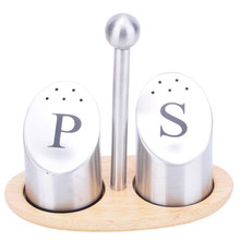 PS stainless steel salt and pepper shaker set with tray Seasoning bottle Spice jar Seasoning