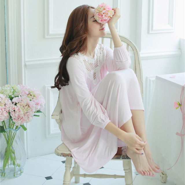 27279ddb63 100% cotton ladies pajamas princess nightgown women s pyjamas Sleepwear  autumn long sleeves sleepwear ladies negligee