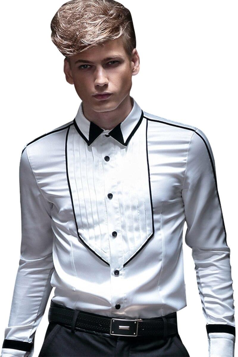 Fanzhuan Freies Verschiffen männer frühjahr männlichen mode herbst kleid weiß falten geometrische design Koreanischen stil lange ärmeln 14252 hemd-in Legere Hemden aus Herrenbekleidung bei  Gruppe 1