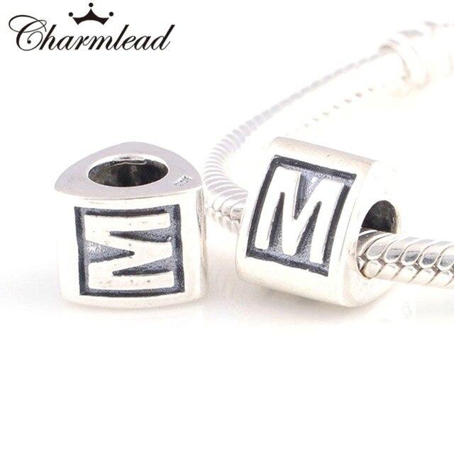 pandora charms originales plata letras