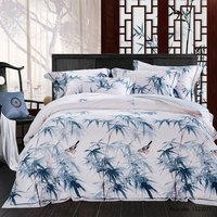 TUTUBIRD Chinese Bamboo Oil Painting Luxury Soft Tencel Ramie Satin Silk Feeling Bedding Sets Bedlinen Sheets