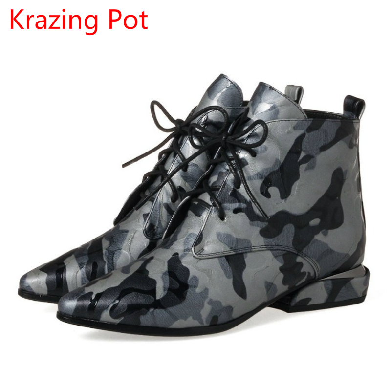 2018 New Arrival Genuine Leather Flowers Lace Up Thick Heels Pointed Toe European Vintage Handmade Fashion Cozy Ankle Boots L5f2 front lace up casual ankle boots autumn vintage brown new booties flat genuine leather suede shoes round toe fall female fashion