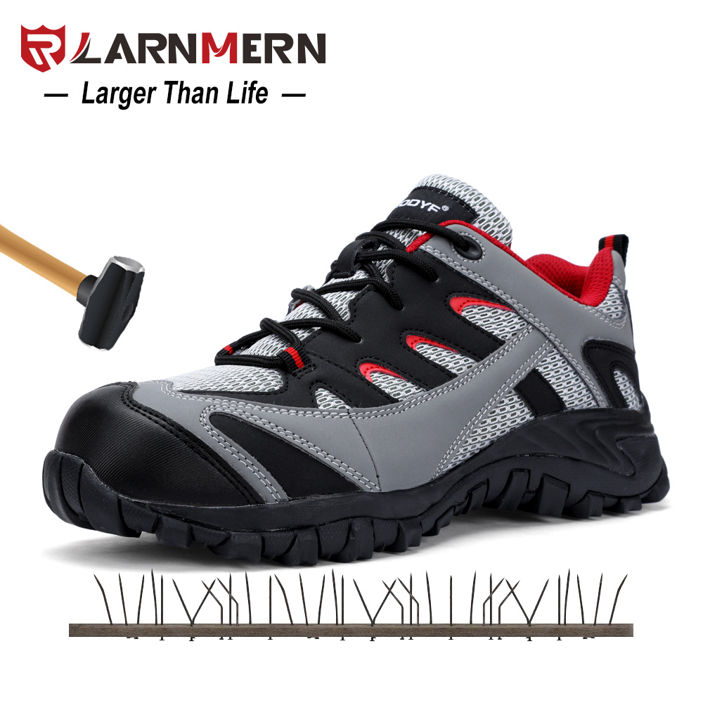 LARNMERN Outdoor Anti-smashing Steel Toe Cap Work Safety Boots Shoes Men Fashion Safety Footwear Breathable Lining Mesh Sneaker tigergrip rubber non slip safety shoe boot cap visitor overshoe anti smashing steel toe cap boot men and women work shoes cover