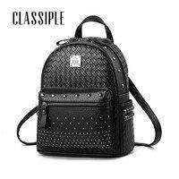 Cute Backpack Leather 2018 Fashion Black Woven Rivet Girls Travel Daypacks Women Backpack Female Backpacks Woman Back Pack