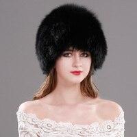 2017 Hot Sale 100% Natural Silver Fox Fur Hat Women Winter Knitted Cap Women Hat Fox Fur Bomber Hat Female Ear Warm Winter Must