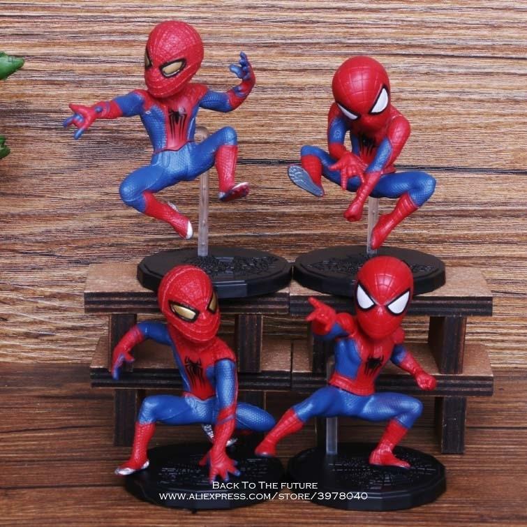 Disney Marvel Avengers Spider Man 4pcs/set 6-8cm Action Figure Posture Anime Decoration Collection Figurine Toy Model Children