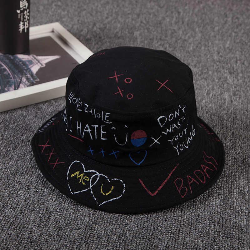 26230e62 Korean version the summer men women hat black and white graffiti love  fisherman hat street personality