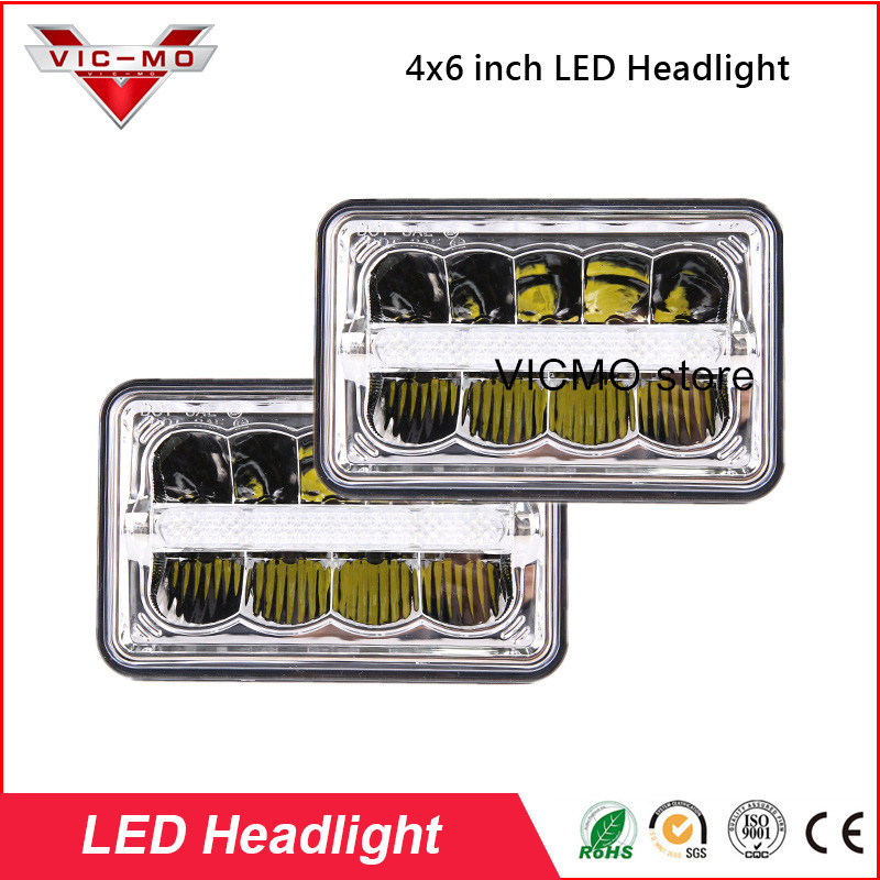 4 x 6 inch Led Headlights With Parking Light Replace HID Xenon H4651 H4652 H4656 H4666 H6545 Peterbilt Kenworth Freightlin Lamp
