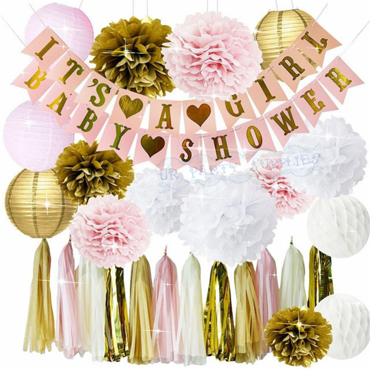 1 set Pink Gold Girl's Baby Shower Party Decoration Paper Lantern Tissue PomPoms Tassel Garland IT'S A GIRL Baby Shower Banner