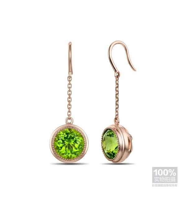 CaiMao 18KT/750 Yellow Gold 3.3 ct Natural Green peridot  Engagement Gemstone Earrings Jewelry