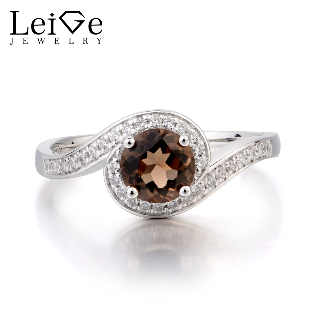 Leige Jewelry Promise Ring Natural Smoky Quartz Ring Round Cut Brown Gemstone Solid 925 Sterling Silver Ring Gifts for WomenLeige Jewelry Promise Ring Natural Smoky Quartz Ring Round Cut Brown Gemstone Solid 925 Sterling Silver Ring Gifts for Women