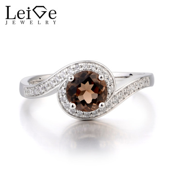 Leige Jewelry Promise Ring Natural Smoky Quartz Ring Round Cut Brown Gemstone Solid 925 Sterling Silver Ring Gifts for Women