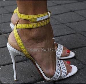 Image 4 - Summer Unique Design Ruler Cross High Heel Sandals Charming Ankle Straps Rulers High Heel Sandals Sexy Formal Dress Shoes