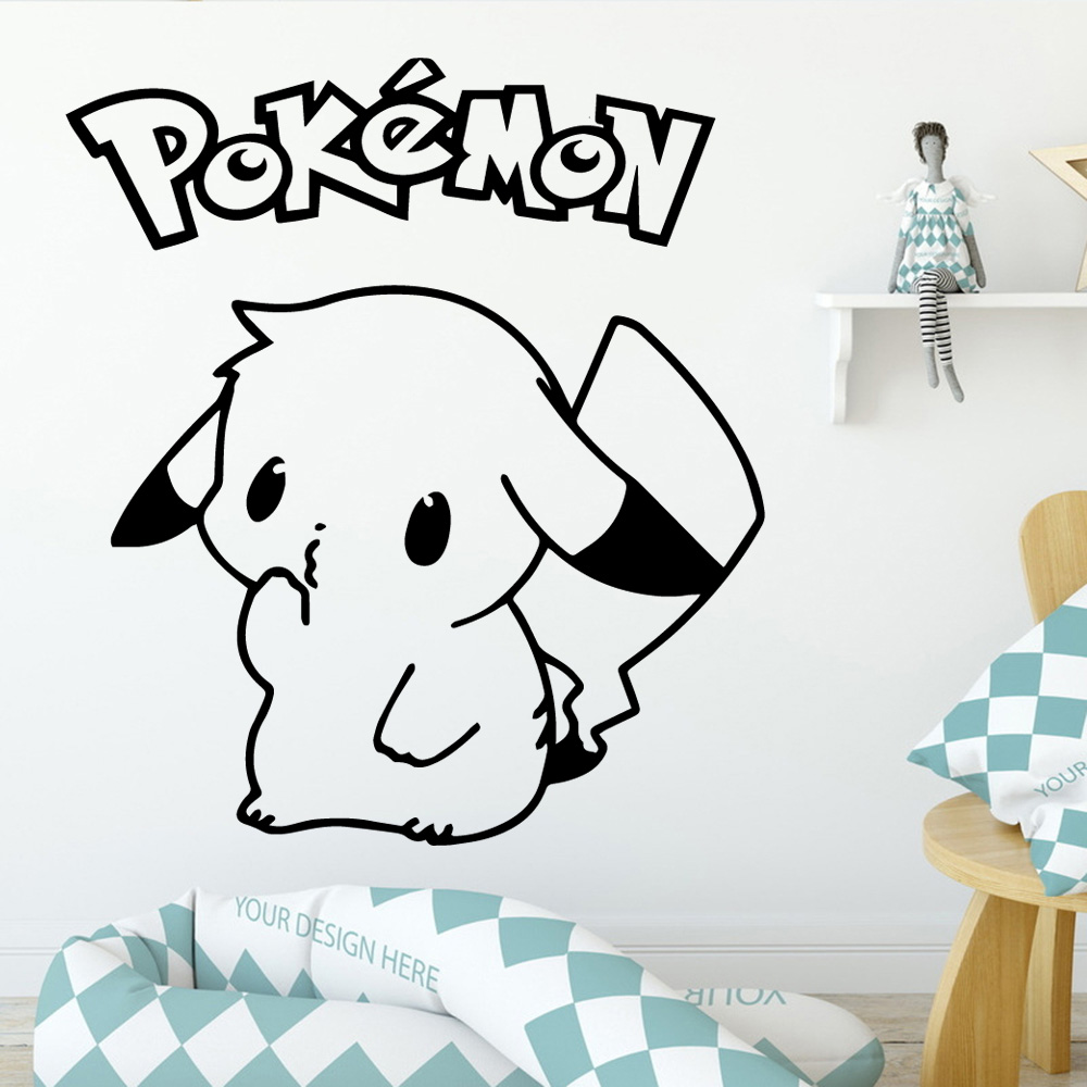 New Design Pokomon Pikachu Wall Decal Living Room Removable Mural For Kids Rooms Decoration Background Art