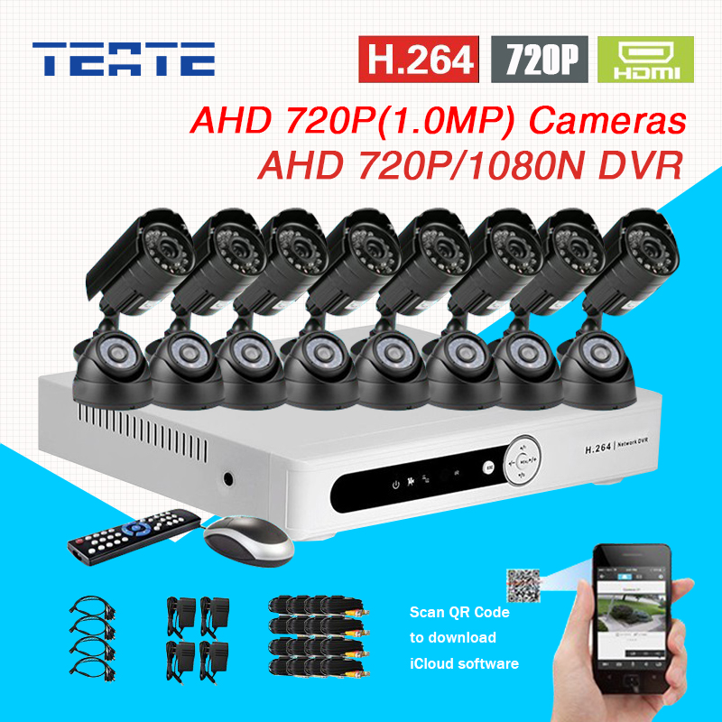 16CH CCTV System AHD-M 720P 1080N DVR recorder 16pc AHD 720P Color CMOS IR waterproof indoor cameras H.264 T-G16D7PW04K03 8ch ahd 960h d1 recording cctv standalone hybrid dvr recorder 8ch 700tvl color cmos ir weatherproof indoor dome cameras