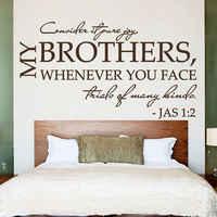 Calcomanías de pared del dormitorio arte versos bíblicos Psalms James 1:2 considere la alegría pura vinilo DIY pegatinas sala de adolescentes Mural decoración del hogar LA832