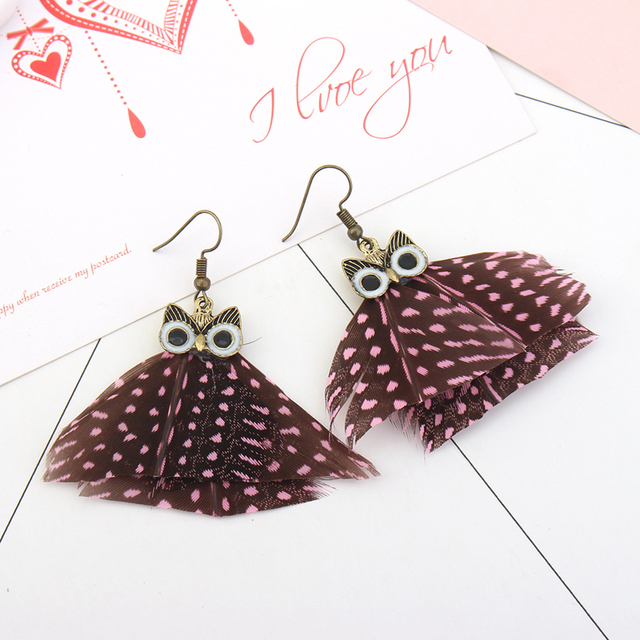 Animal Earrings Owl Design Peacock Feather Earrings Fashion Indian