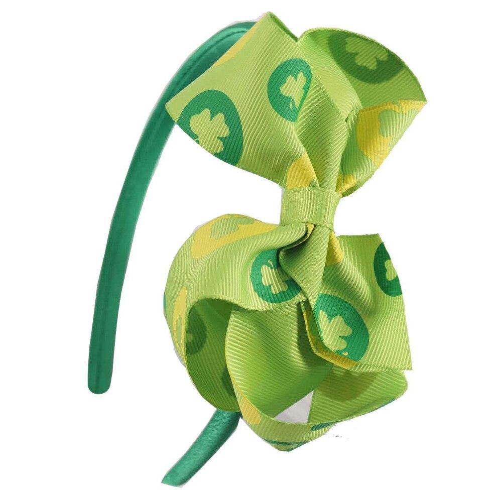 6 шт./лот Лидер продаж зеленый трилистник Hairbows Клевер лентой День Святого Патрика держатель для ребенка детского тюрбан