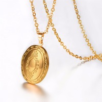 Vintage Oval Locket Pendant Women Men Jewelry Wholesale 2 Colors 18K Gold Platinum Plated Classic European