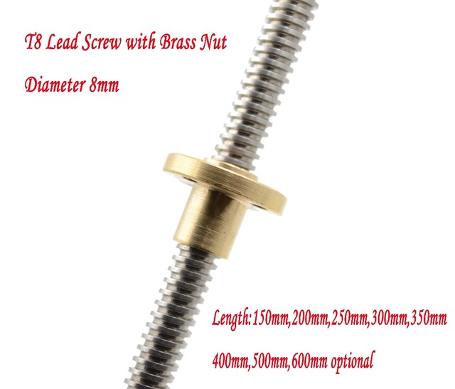 T8 Lead Screw Rod OD 8mm Pitch 2mm Lead 2mm Length 150mm-500mm Threaded Rods with Brass Nut for Reprap 3D Printer Z Axis